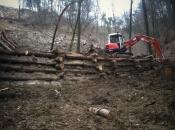 Eindämmung von rutschender Erde Kastensystem aus Baumstämmen